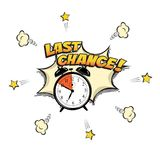 Last Chance concept illustration in comic book style. Vector alarm clock and Last Chance words isolated on white. Background Royalty Free Stock Photography