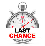 Last chance. 3d generated picture of a stopwatch with last chance sign Stock Image