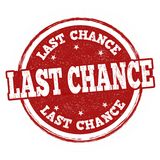 Last chance grunge rubber stamp. On white background, vector illustration Stock Image