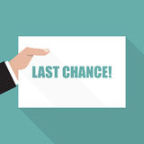 Last chance. Hand with sheet of paper with long shadow royalty free illustration
