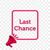 Last Chance message quote megaphone vector icon royalty free illustration