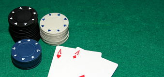 Last chance with pocket aces. Small bank with good cards - last chance to double bank royalty free stock image