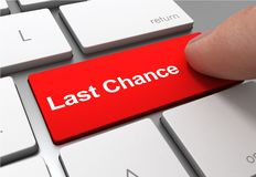 Last chance push button concept 3d illustration. Isolated stock illustration
