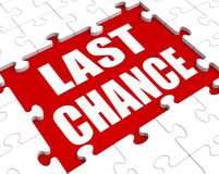 Last Chance Puzzle Shows Final Opportunity Or Act Now. Last Chance Puzzle Showing Final Opportunity Or Act Now Royalty Free Stock Image