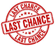 Last chance red grunge round vintage stamp Stock Photography