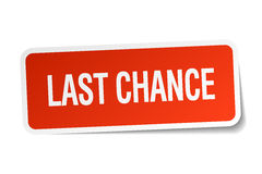 Last chance red square sticker. On white royalty free illustration