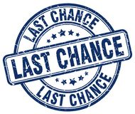Last chance stamp. Last chance round grunge stamp isolated on white background royalty free illustration