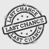 Last chance rubber stamp isolated on white. Last chance rubber stamp isolated on white background. Grunge round seal with text, ink texture and splatter and stock illustration