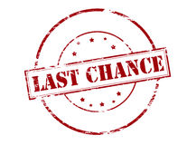 Last chance. Rubber stamp with text last chance inside, illustration stock illustration
