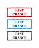Last Chance set rubber stamp isolated on white background Stock Photos