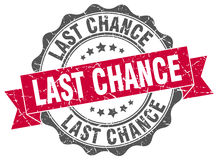 Last chance stamp. Sign. seal stock illustration