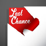 `Last Chance` text uncovered from teared paper corner. Royalty Free Stock Photography