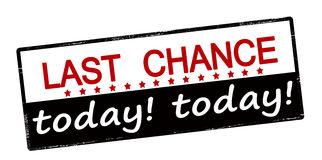 Last chance today. Rubber stamp with text last chance today inside, vector illustration Stock Photography