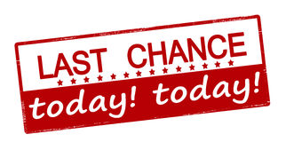 Last chance today. Rubber stamp with text last chance today inside, vector illustration Royalty Free Stock Photos