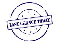Last chance today. Stamp with text last chance today inside, illustration royalty free illustration
