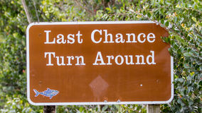 Last Chance, Turn Around, Road Sign, Big Cypress National Preser Royalty Free Stock Image