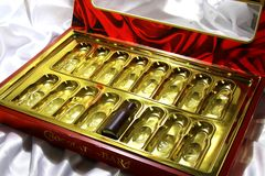 Last chocolates in a box. Royalty Free Stock Images