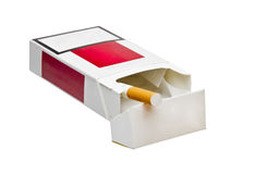 Last cigarette. Last one. Pack of cigarettes isolated on white background Royalty Free Stock Photography