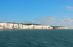 Last cliffs of the United Kingdom near Dover. Seaview shot of the last pieces of land leaving Great Britain toward France Stock Photography