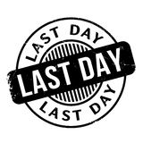 Last Day rubber stamp. Grunge design with dust scratches. Effects can be easily removed for a clean, crisp look. Color is easily changed Stock Photos