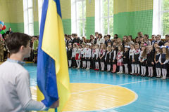 The last day of school in Ukraine. Zhytomyr, Ukraine, May 26, 2017: The last day of school in Ukraine. School meeting in the gym on the graduation day Stock Image
