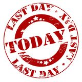 Last day today. Rubber stamp with text last day today inside,  illustration Stock Photos