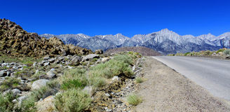 Last desert view before mountains, Lone Pine, California, USA Stock Photography