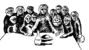 Last dinner. Black and white illustration of biblical scene of the last dinner Stock Photos