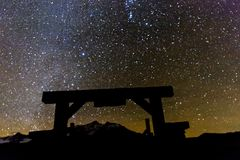 Last Dollar Gate and Milky Way Starry Night, Hastings Mesa, Ridg. OCTOBER 23, 2017 - Last Dollar Gate and Milky Way Starry Night, Hastings Mesa, Ridgway Stock Images