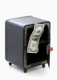 Last dollar in open empty combination toy bank Royalty Free Stock Photos
