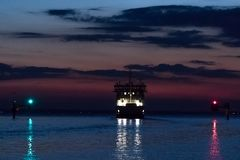 The last ferry leaving Landskrona to Ven Stock Photo