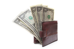 Last five dollars in the purse Royalty Free Stock Photo