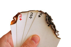 Last game. Conceptual shot of some burning game cards representing quit gambling Royalty Free Stock Image
