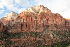 The last golden light on tallest peak in Zion National Park Royalty Free Stock Photo