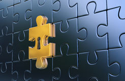 Last golden piece of metallic puzzle with keyhole Stock Photography