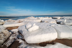 Last ice on Baltic sea coast. Royalty Free Stock Photography