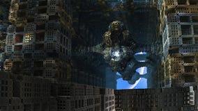 Last Inhabitant of Abandoned Alien City vector illustration