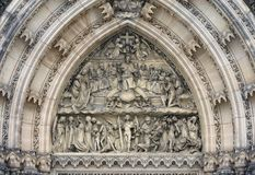 Last Judgement - sculpture above the entrance to the church. On the Vysehrad in Prague Royalty Free Stock Photos