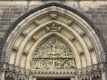 Last Judgement - sculpture above the entrance. To the church on the Vysehrad in Prague Royalty Free Stock Photo