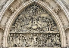 Last Judgement - sculpture above the entrance to the church. On the Vysehrad in Prague Stock Images