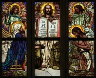 Last Judgment. Art Nouveau stained glass window. royalty free stock photography