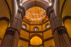 Last Judgment Dome Duomo νωπογραφίας Vasari του Ιησού καθεδρικός ναός Φλωρεντία στοκ φωτογραφία με δικαίωμα ελεύθερης χρήσης