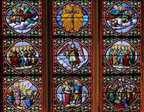 Last Judgment. Stained glass window in Church of Saint Leu Saint Gilles in Paris, France royalty free stock photography