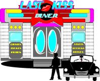 Last kiss diner. From the sixties  with greaser and convertible in front Royalty Free Stock Photography