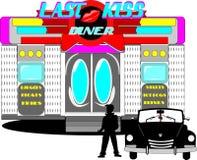 Last kiss diner vector illustration