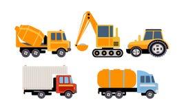 Last, konstruktion och specialiserat maskineri för trans., lastbil för konkret blandare, grävskopa, traktor, behållare stock illustrationer