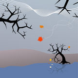 Last Leaves of Fall Falling. The end of Autumn & start of Winter as last leaves fall from trees into lake or river in Halloween scene royalty free illustration