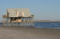 Last Leg. The only remaining house standing on Lea Island in Hampstead, NC.  The house finally fell during hurricane Juaquin Royalty Free Stock Photography