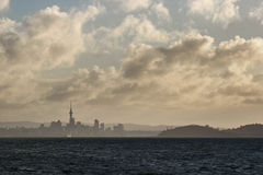Last light for Auckland. View back to Auckland on the way to Waiheke Island Royalty Free Stock Photos