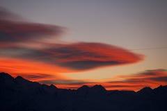 Last light of day. In pyrenees range Stock Photo